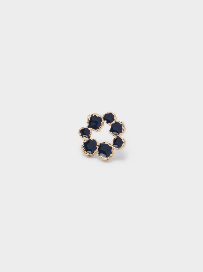 Boucles D'Oreilles Courtes Fleur, Bleu Foncé, hi-res