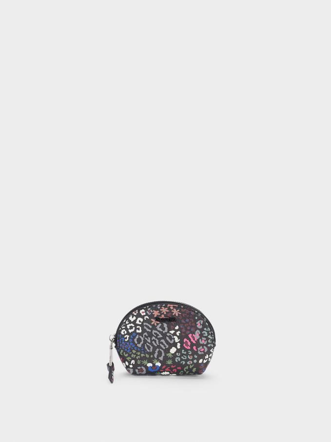 Monedero Con Estampado Floral, Negro, hi-res