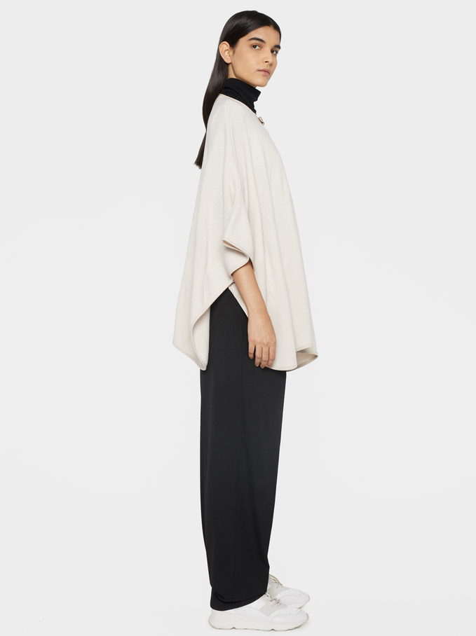 Poncho With Buckle Detail, Ecru, hi-res