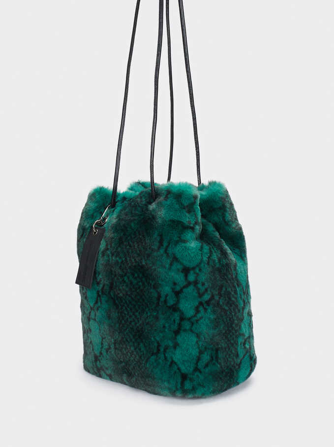 Snake Print Bucket Bag, Green, hi-res