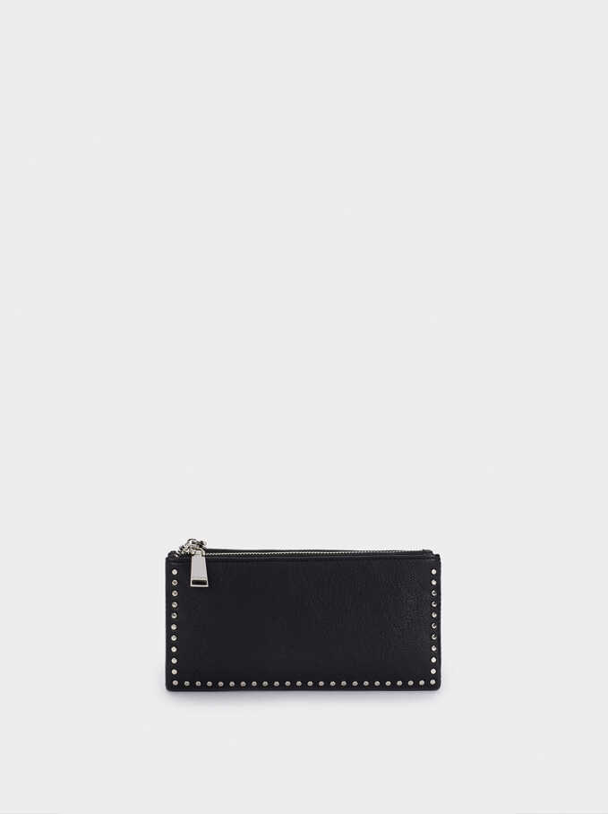 Long Wallet With Studded Detail, Black, hi-res