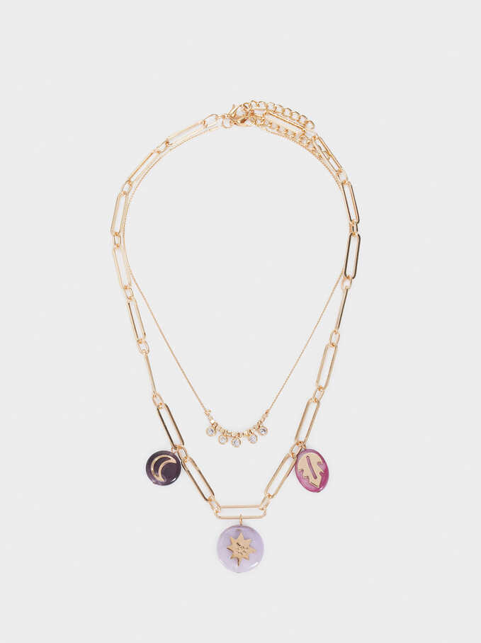 Set Of Necklaces With Shell And Crystals, Multicolor, hi-res