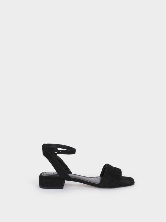 Flat Sandals With Ankle Strap, Black, hi-res