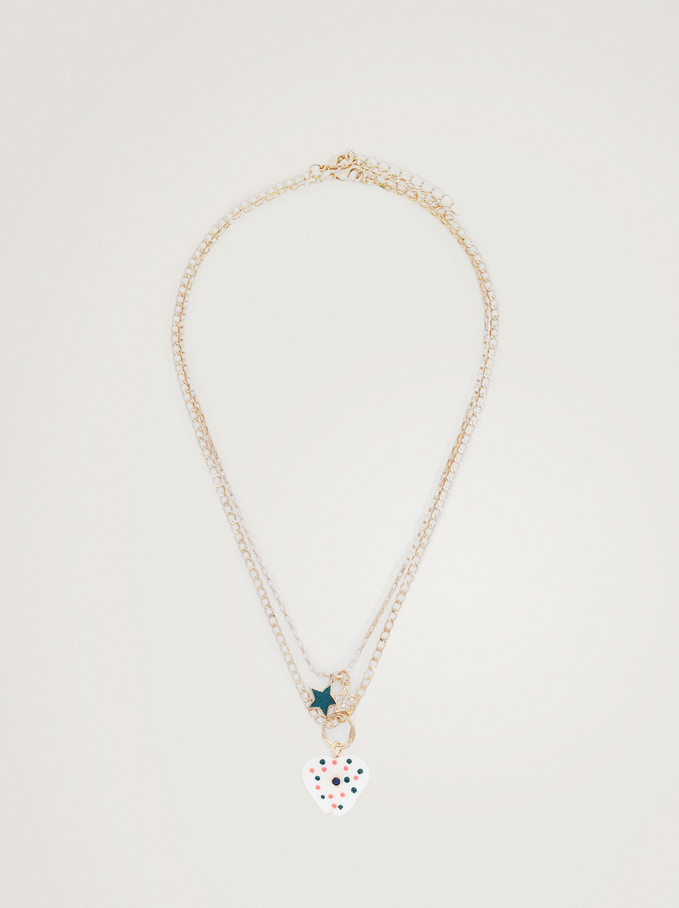 Set Of Necklaces With Star And Heart, Multicolor, hi-res