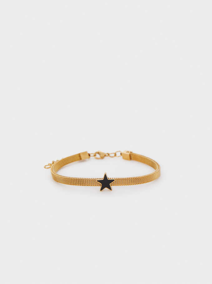 Gold Chain Metal Bracelet, Black, hi-res