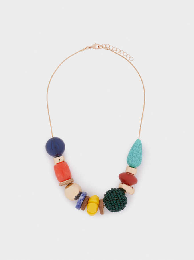 Short Necklace With Stones, Golden, hi-res
