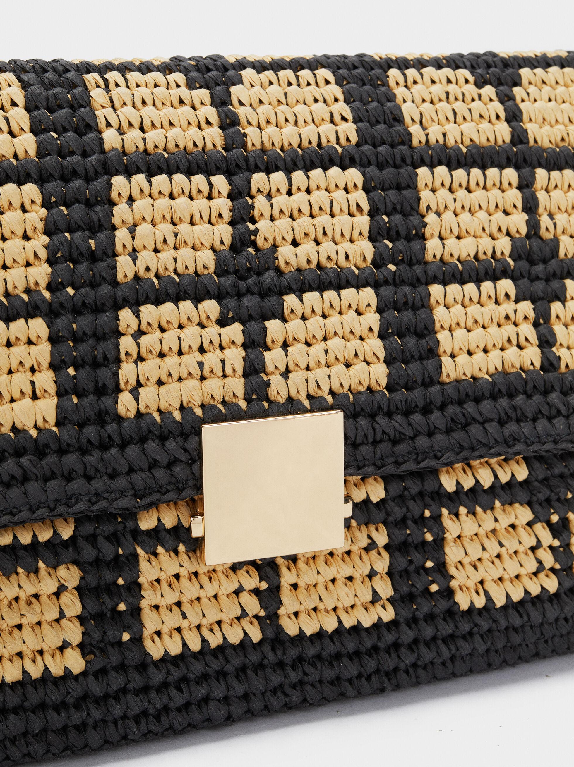 Mala A Tiracolo Textura Ráfia Entrançada, Preto, hi-res
