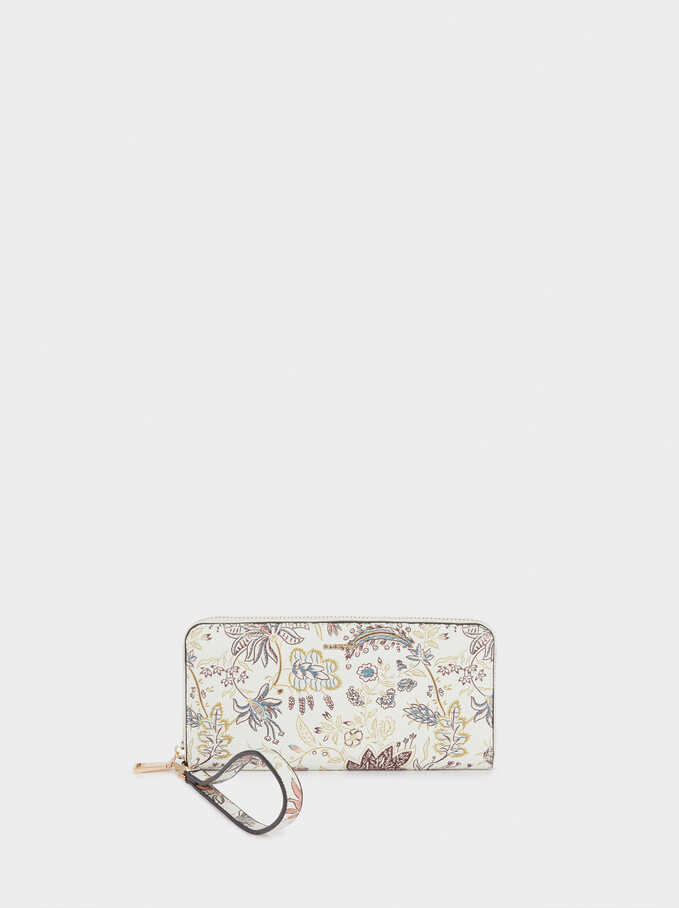 Floral Print Purse With Handle, Ecru, hi-res