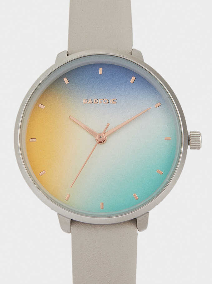 Watch With Leather-Feel Strap And Multicoloured Face, Grey, hi-res