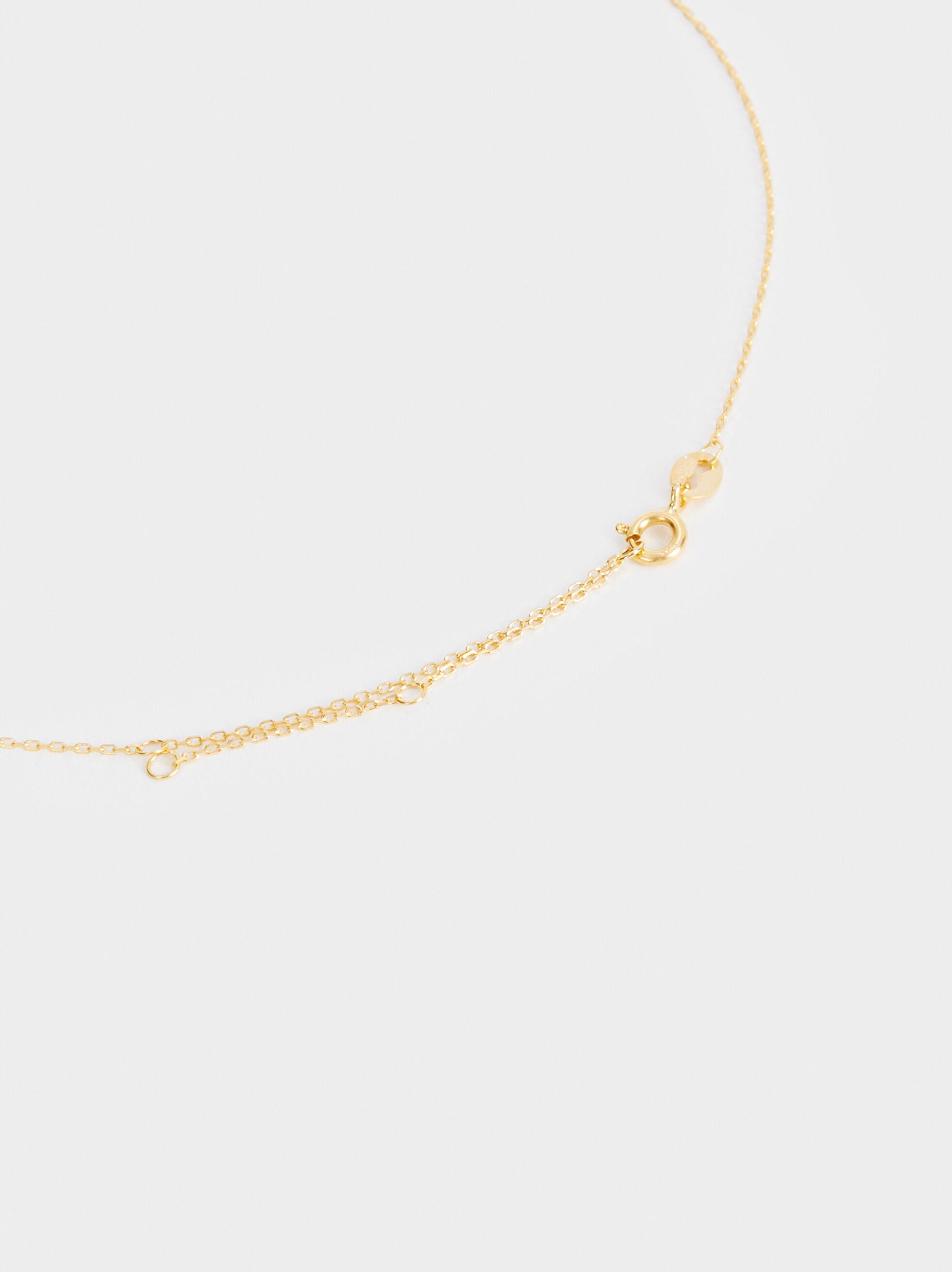 Short 925 Silver Tree Necklace, Golden, hi-res