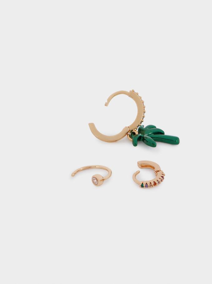 Conjunto De Argolas Com Zirconias E Palmeira, Multicor, hi-res