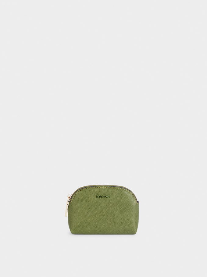 Plain Coin Purse With Zip Fastening, Green, hi-res