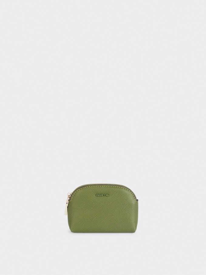Monedero Liso Con Cremallera, Verde, hi-res
