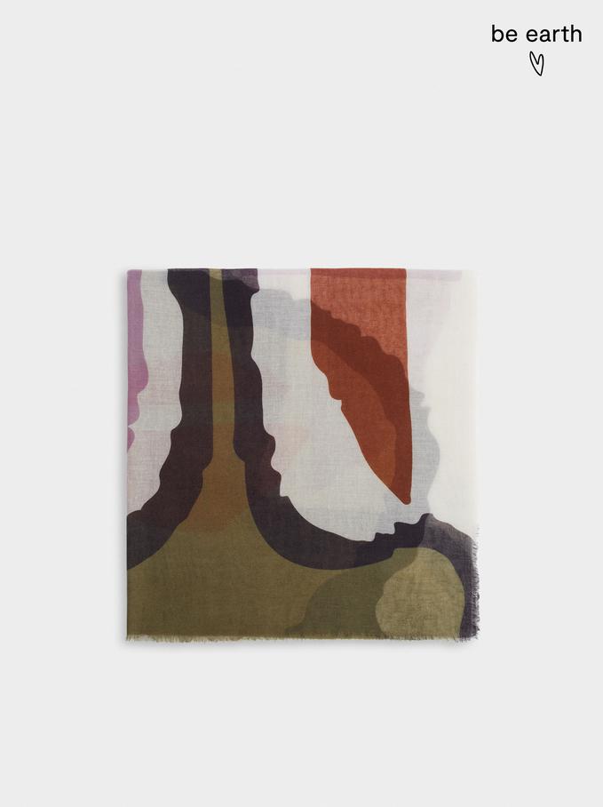 Pañuelo Estampado Fabricado Con Materiales Reciclados, Caqui, hi-res