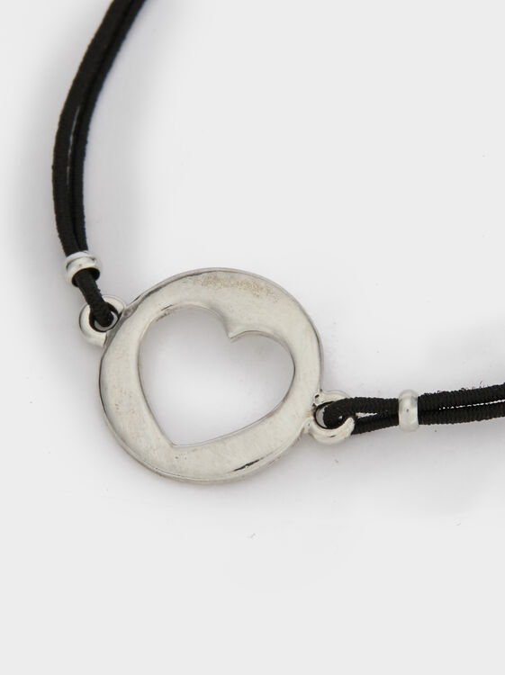 Adjustable Bracelet With Heart, Black, hi-res