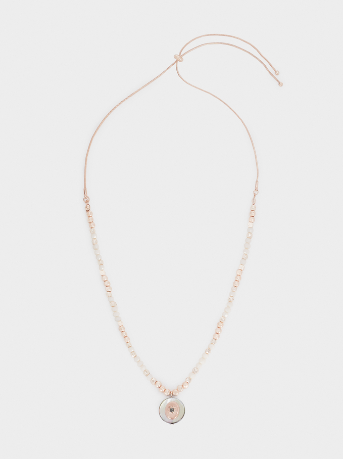 Short Rose Gold Necklace With Beading, Orange, hi-res