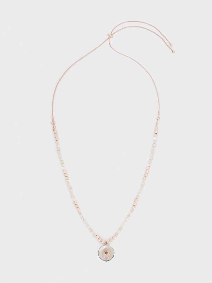 Collar Corto Abalorios Oro Rosa, Naranja, hi-res