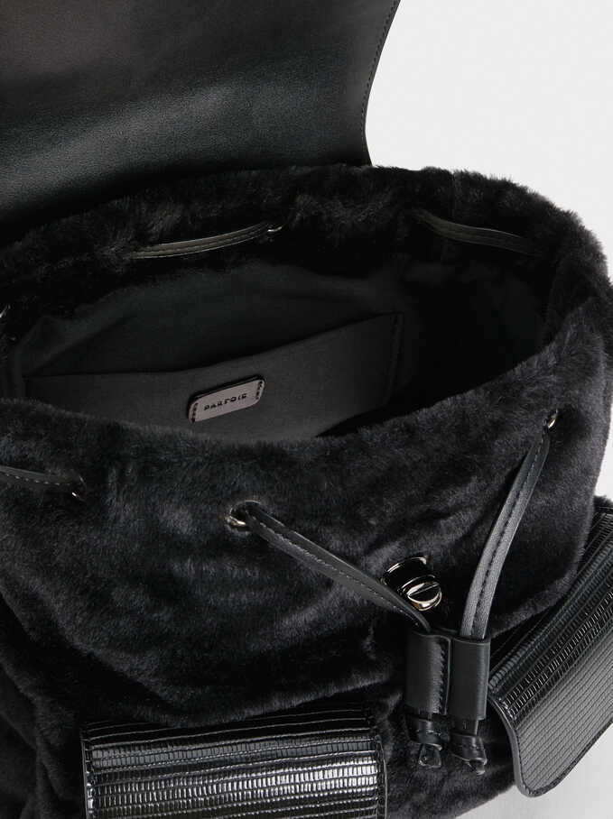Embossed Faux Fur Backpack With Flaps, Black, hi-res