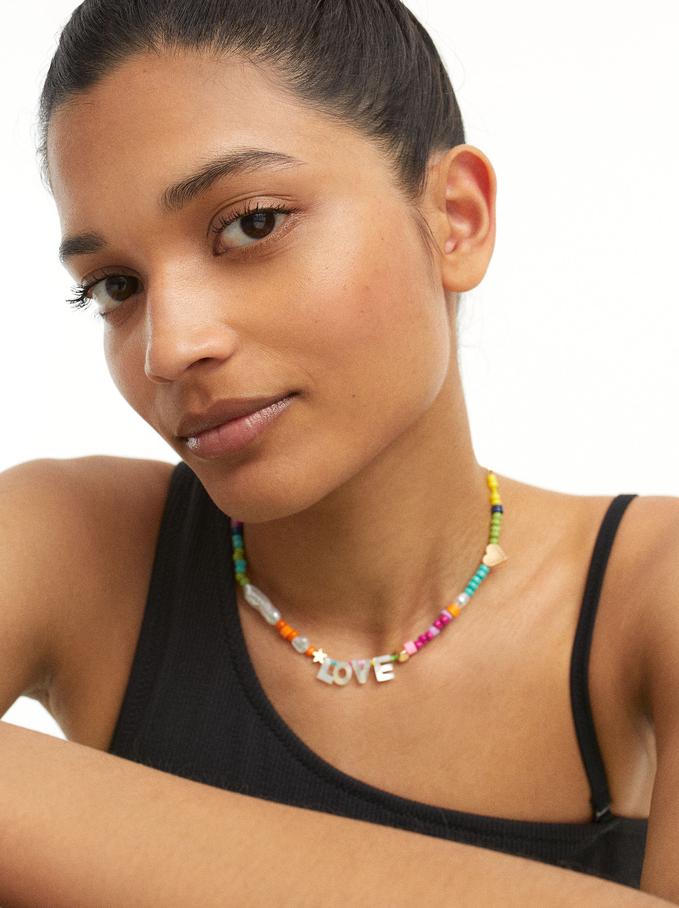 Kurze Love Halskette Mit Strass, Mehrfarbig, hi-res