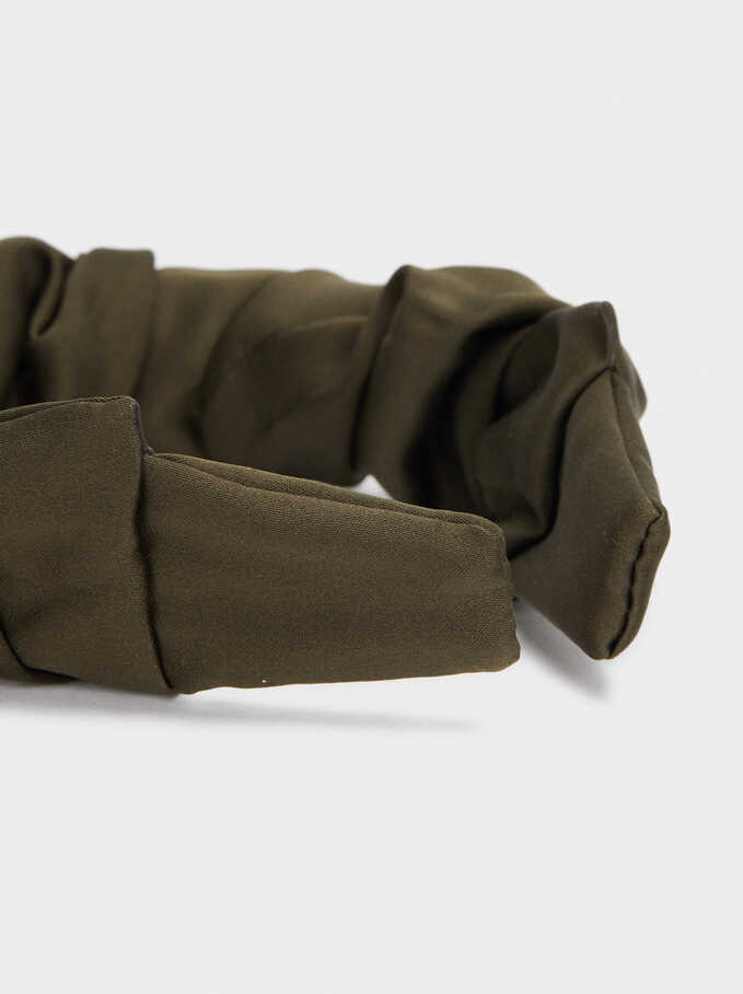 Rigid Headband With Voluminous Fabric, Green, hi-res