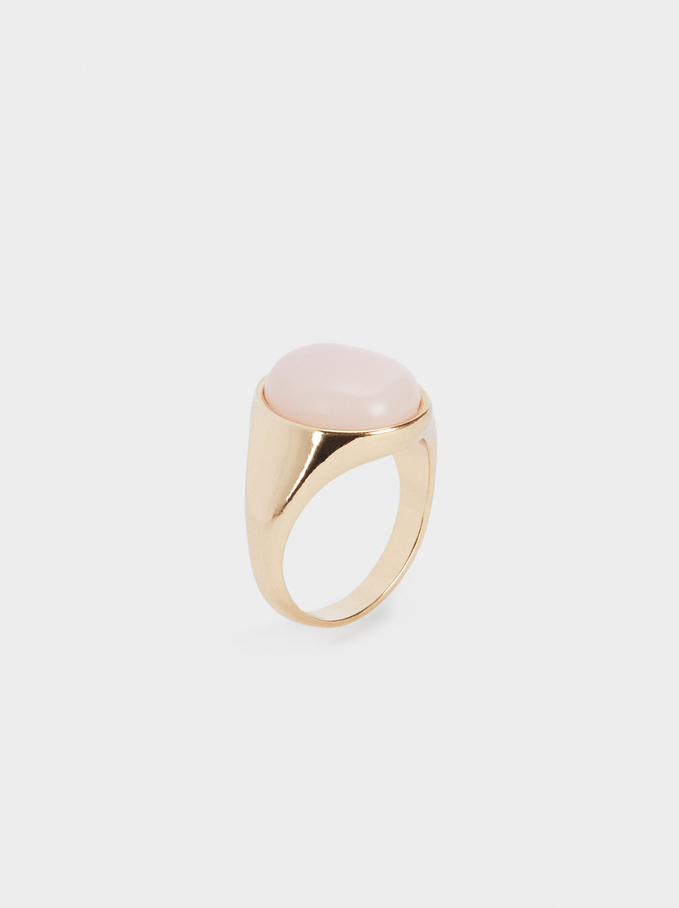 Signet Ring With Stone, Pink, hi-res