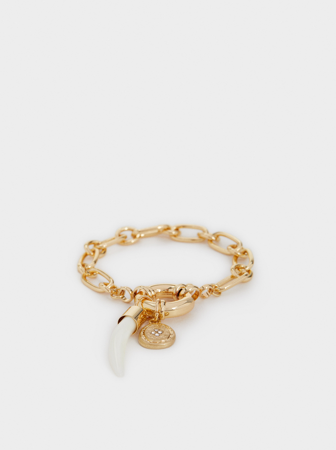 Chains And Charms Bracelet, Golden, hi-res