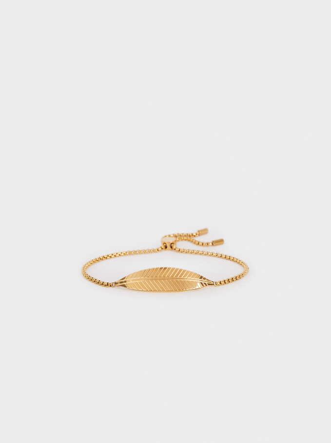 Stainless Steel Gold Adjustable Bracelet With Leaf, Golden, hi-res