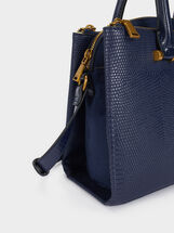Tote Bag With Animal Print, Navy, hi-res