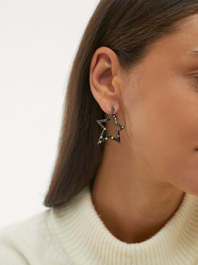 Earrings With Star, Multicolor, hi-res