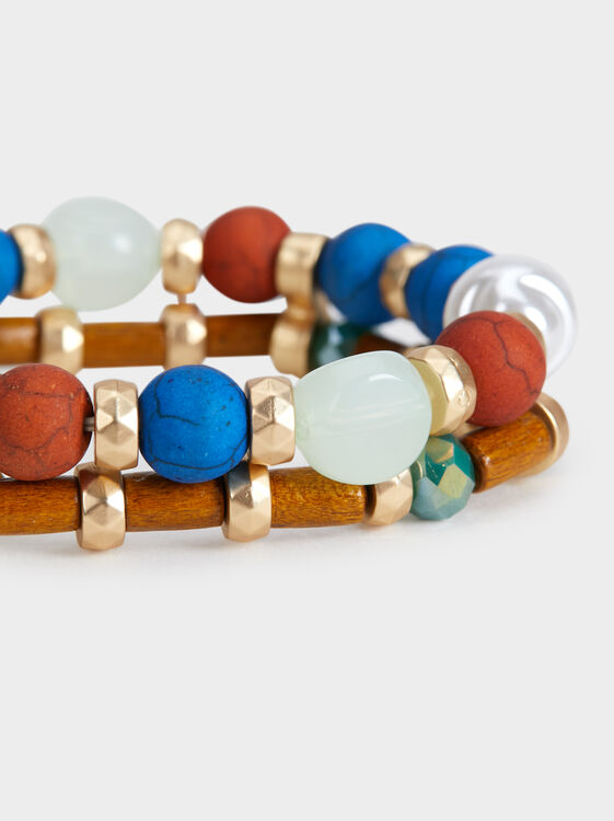 Zorba Elasticated Bracelet With Beading, Multicolor, hi-res