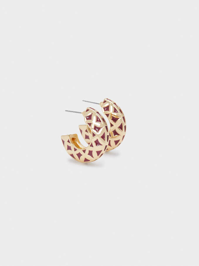 Small Hoop Enamel Earrings, Golden, hi-res