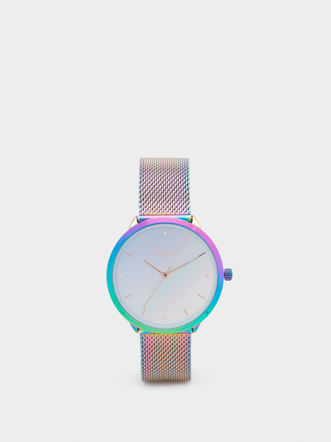 Watch With Steel Mesh Strap, Multicolor, hi-res