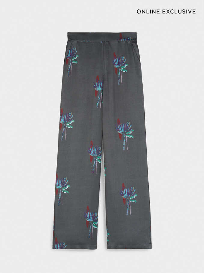 Limited Edition Wide Leg Palm Tree Print Trousers, Grey, hi-res