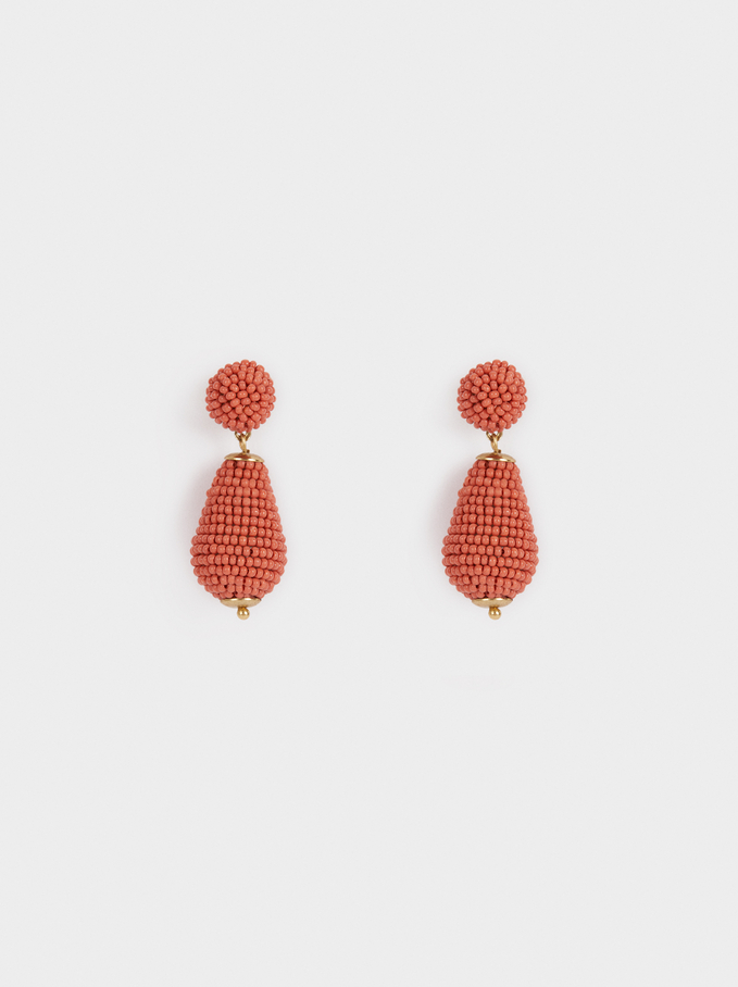 Sea Breeze Medium Beaded Earrings, Orange, hi-res