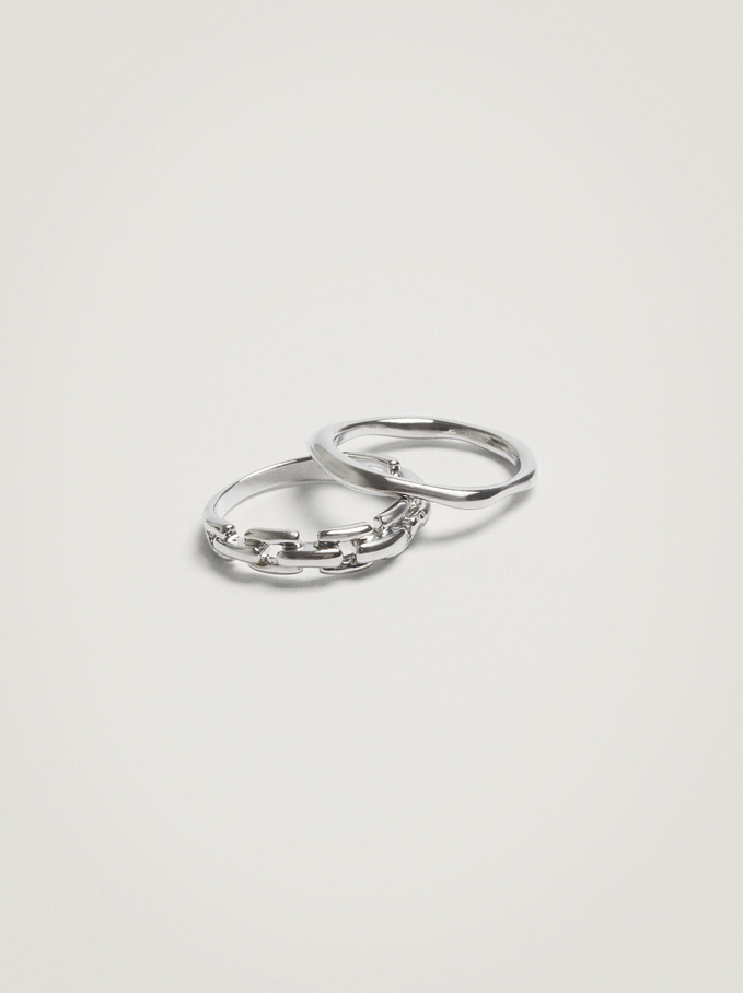 Set Of Rings With Links, Silver, hi-res