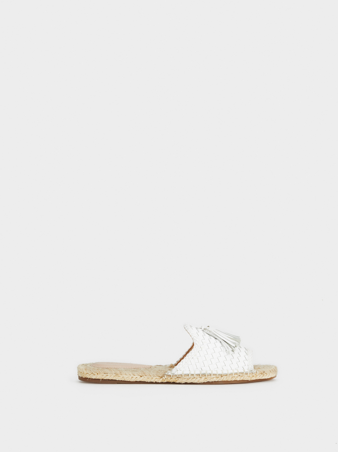 Leather And Jute Flat Sandals, White, hi-res