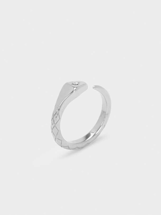 Silver-Plated Stainless Steel Ring, Silver, hi-res