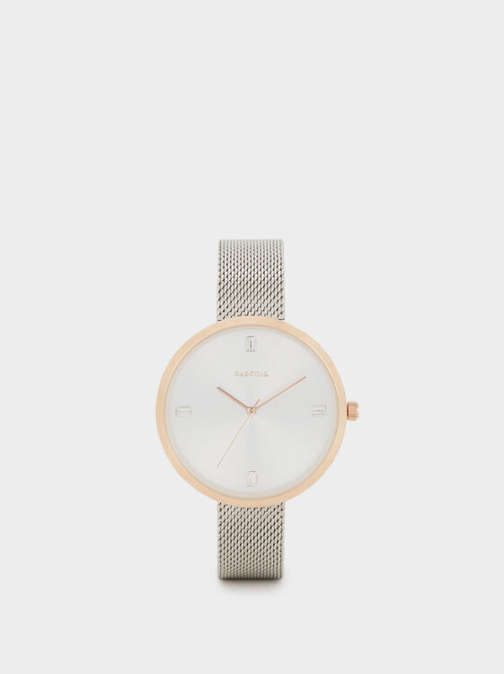 Watch With Mesh Strap, Silver, hi-res