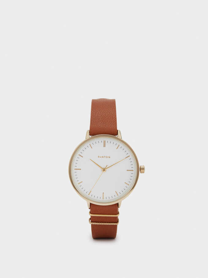 Watch With Metal Detail On The Strap, Brown, hi-res
