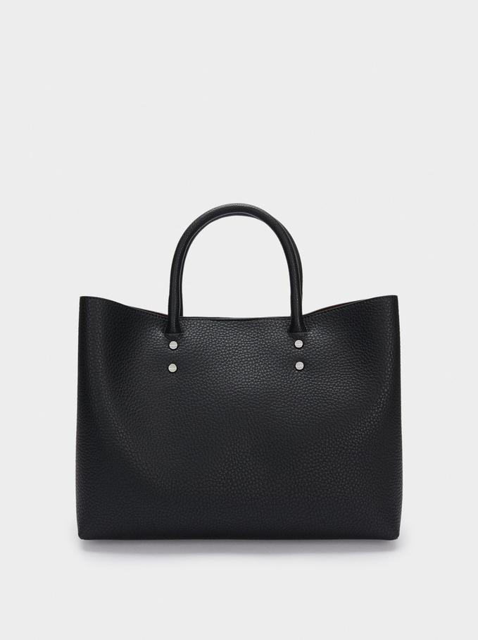 "Embossed Briefcase For 13"" Laptop, Black, hi-res"