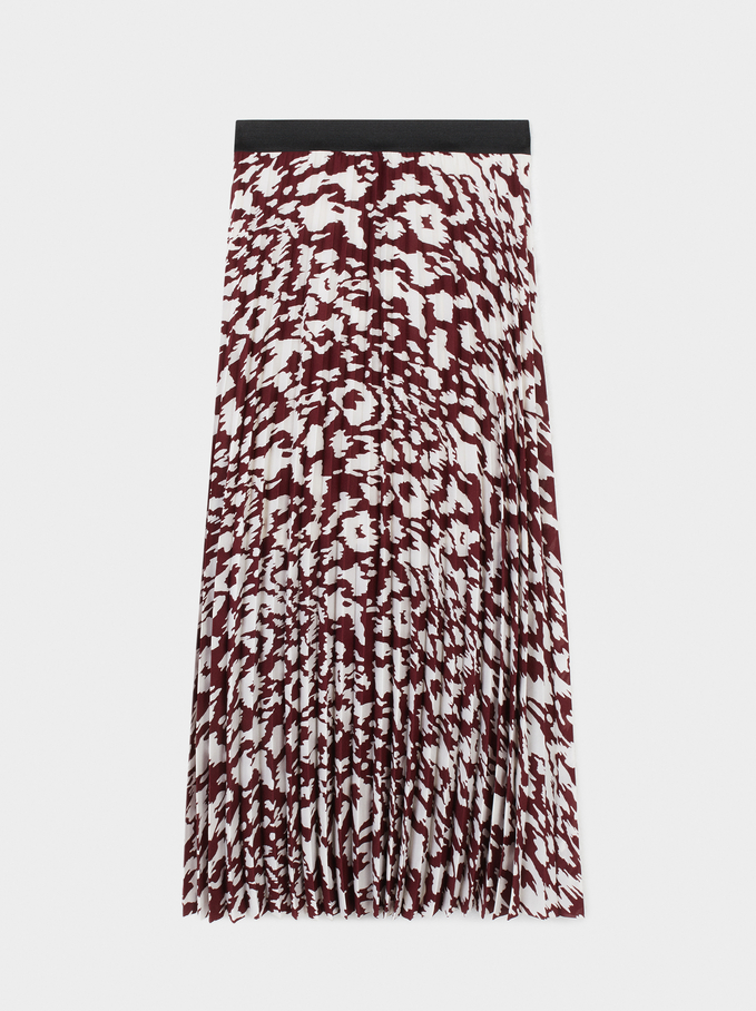 Printed Pleated Skirt, Bordeaux, hi-res