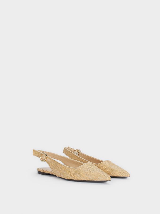 Flat Raffia Shoes, Beige, hi-res