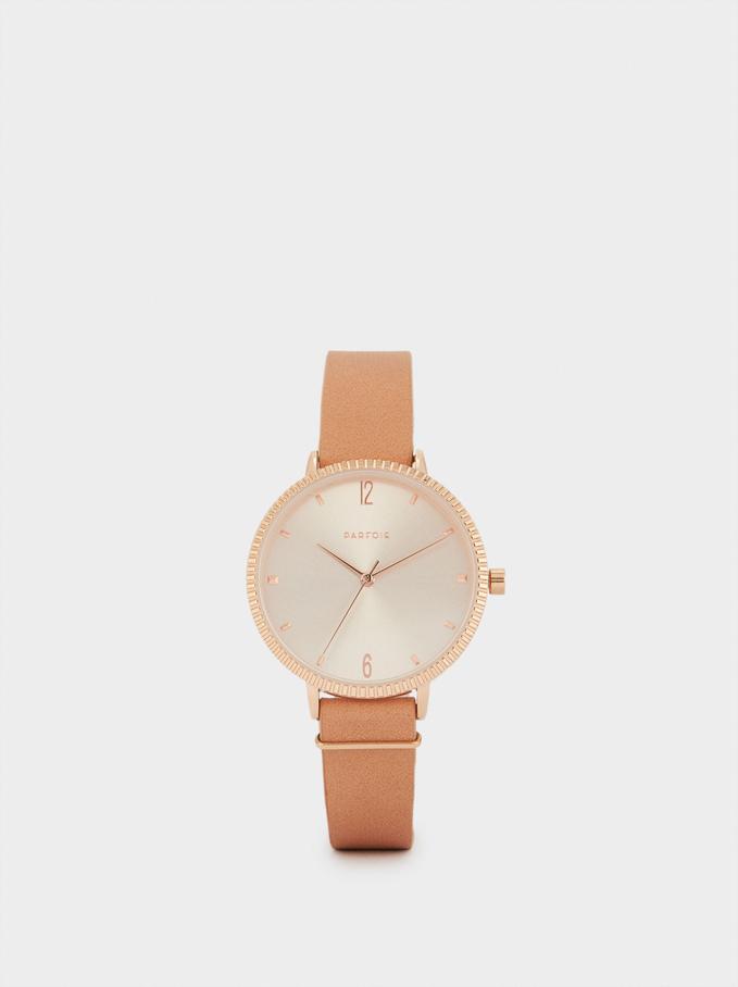 Montre-Bracelet Texturée Cuir, Rose, hi-res