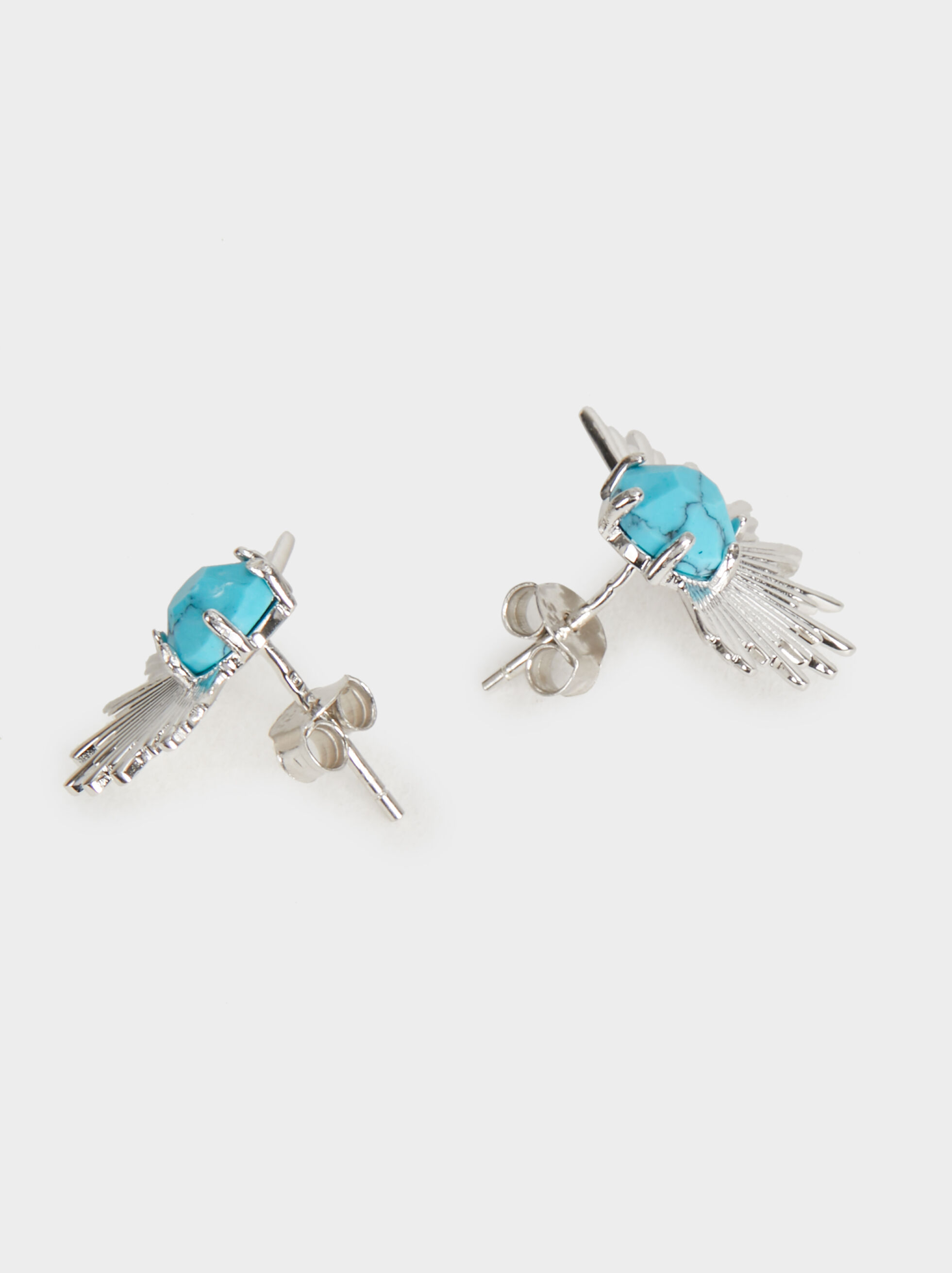 Short 925 Silver Stone Earrings, Beige, hi-res
