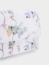 Floral Print Purse, Violet, hi-res