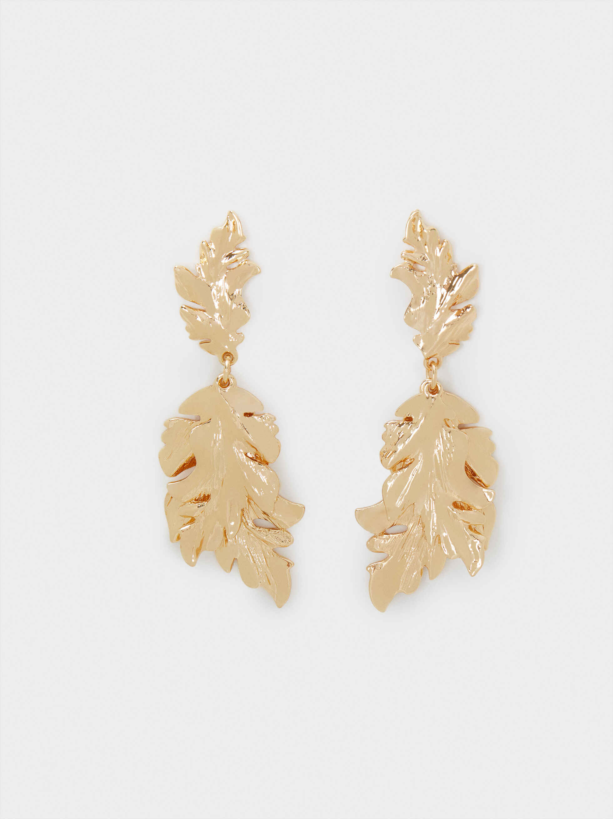 Long Gold Leaf Earrings, Golden, hi-res