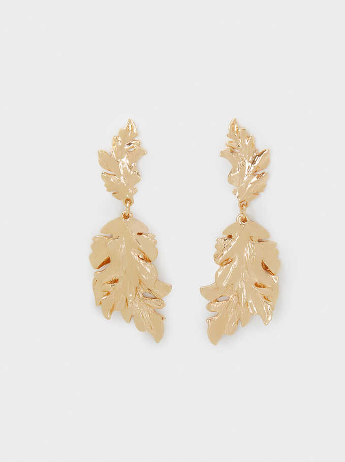 Leaf Dangle Earrings, Golden, hi-res