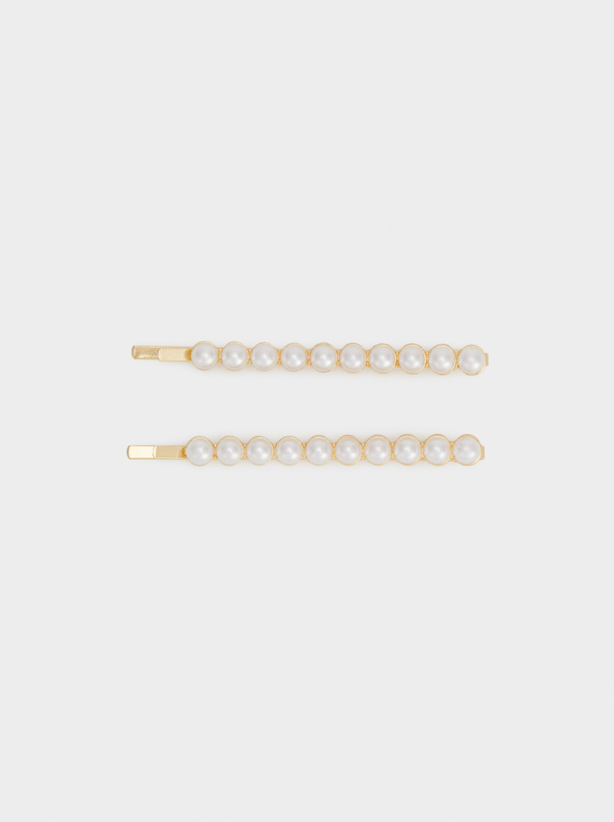 Pearl Bead Hair Slides, Golden, hi-res