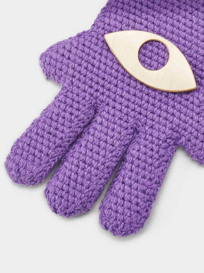 Hamsa Pendant Key Ring, Purple, hi-res