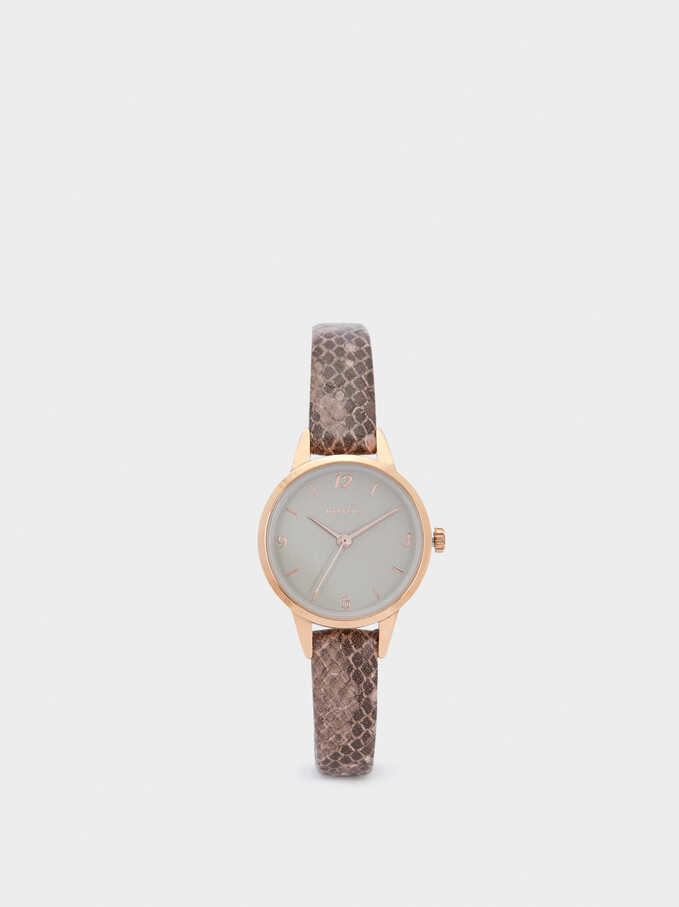 Watch With Embossed Animal Print Strap, Pink, hi-res